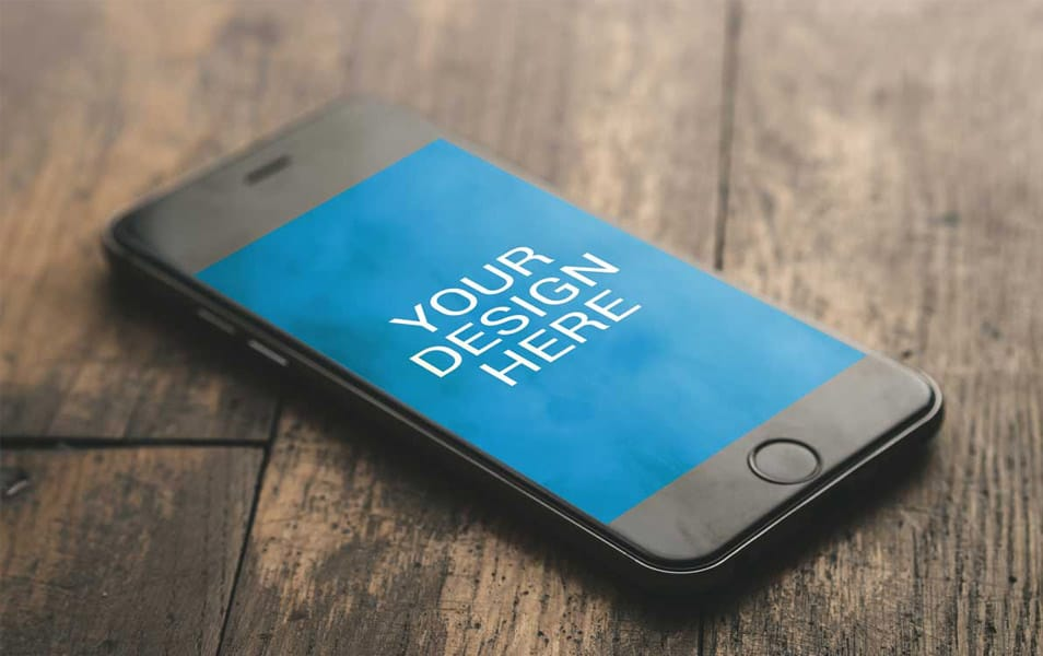 iPhone 6S On Wooden Desk Mockup