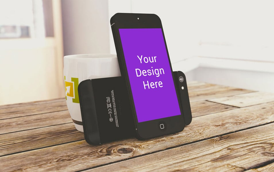 iPhone On Wood Surface Mockup