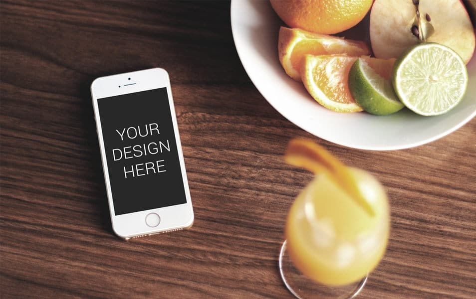 iPhone with Fruit Tray Mockup