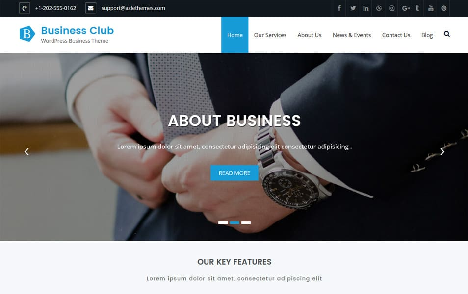 Business Club Responsive WordPress Theme