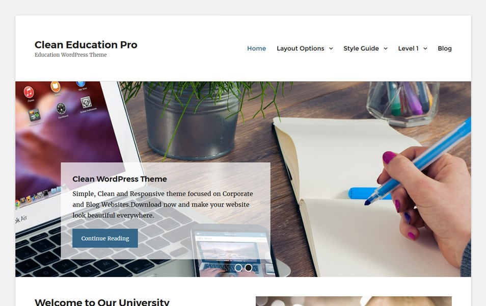 Clean Education Responsive WordPress Theme