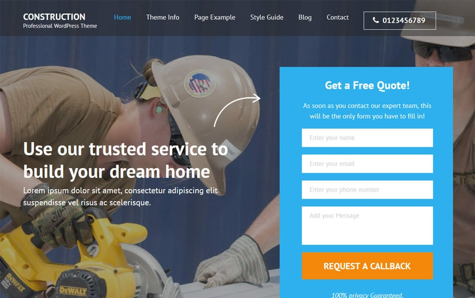 Construction Landing Page Responsive WordPress Theme