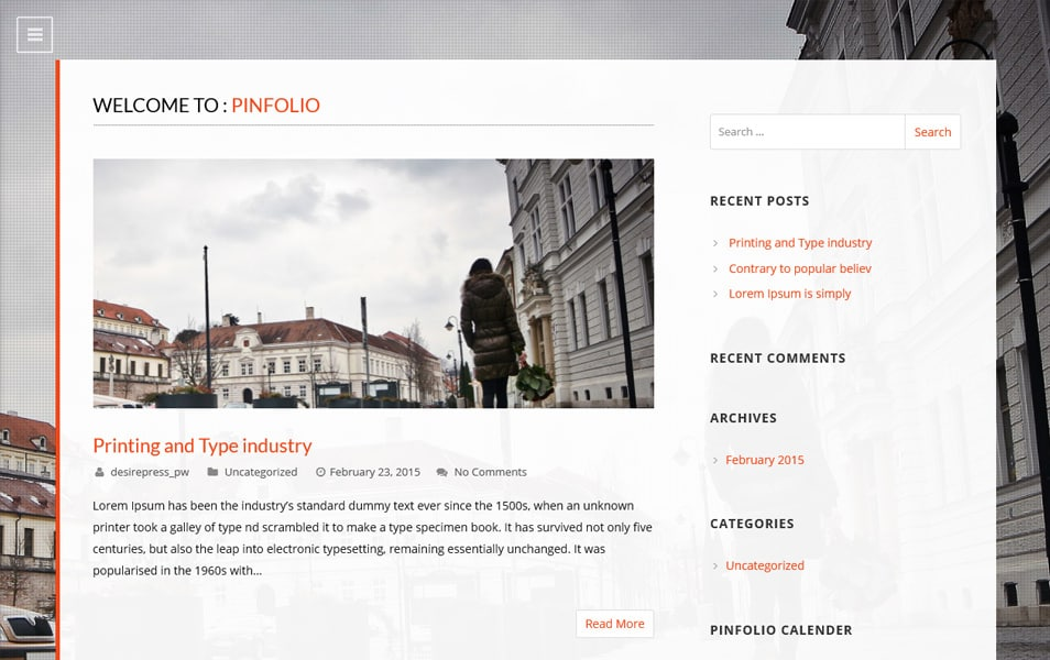 Pinfolio Responsive WordPress Theme