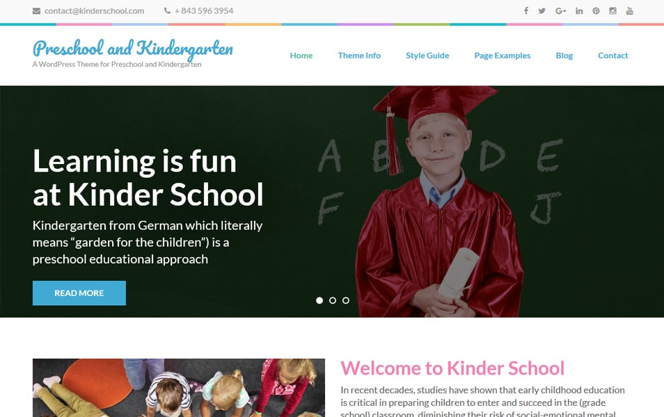 Preschool and Kindergarten Responsive WordPress Theme