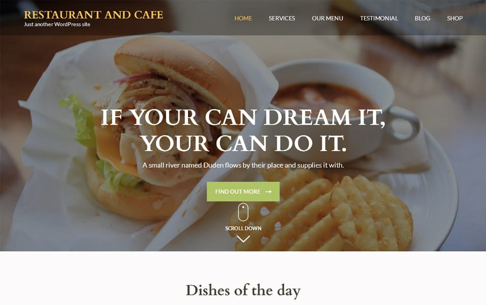 Restaurant and Cafe Responsive WordPress Theme