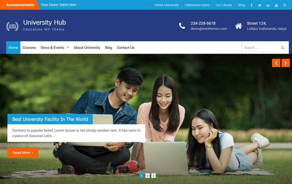 University Hub Responsive WordPress Theme
