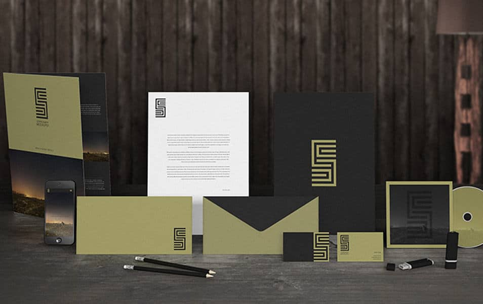 Dark gold stationary mockup
