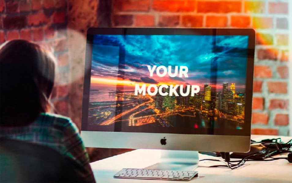 Free iMac 27-Inch Office Mockup