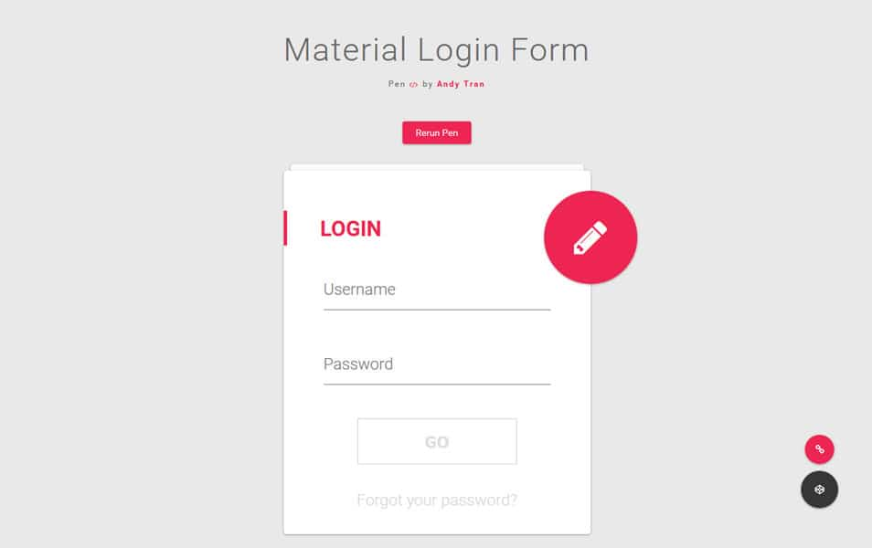 Material Login Form