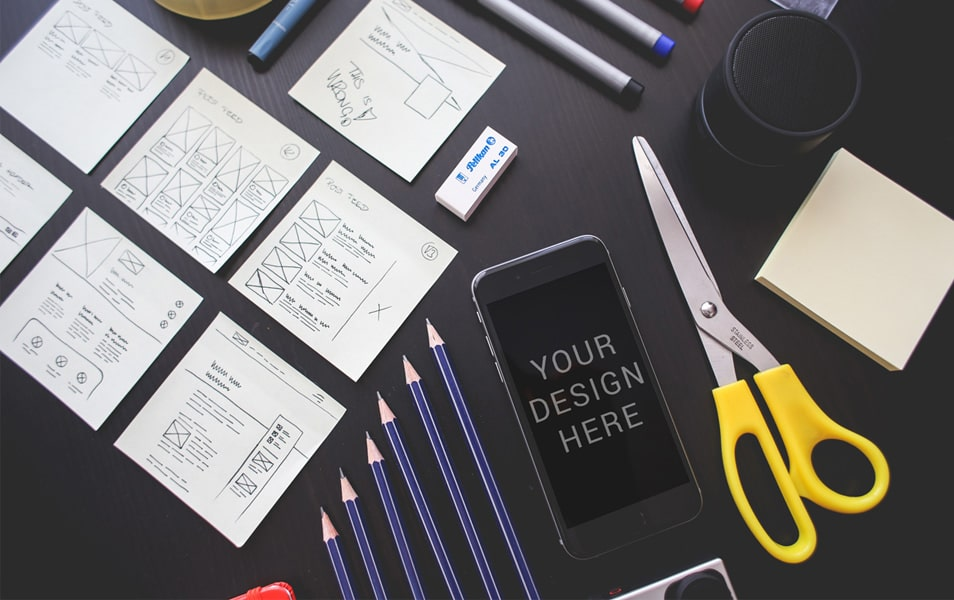 iPhone 6 With Stationary Mockup