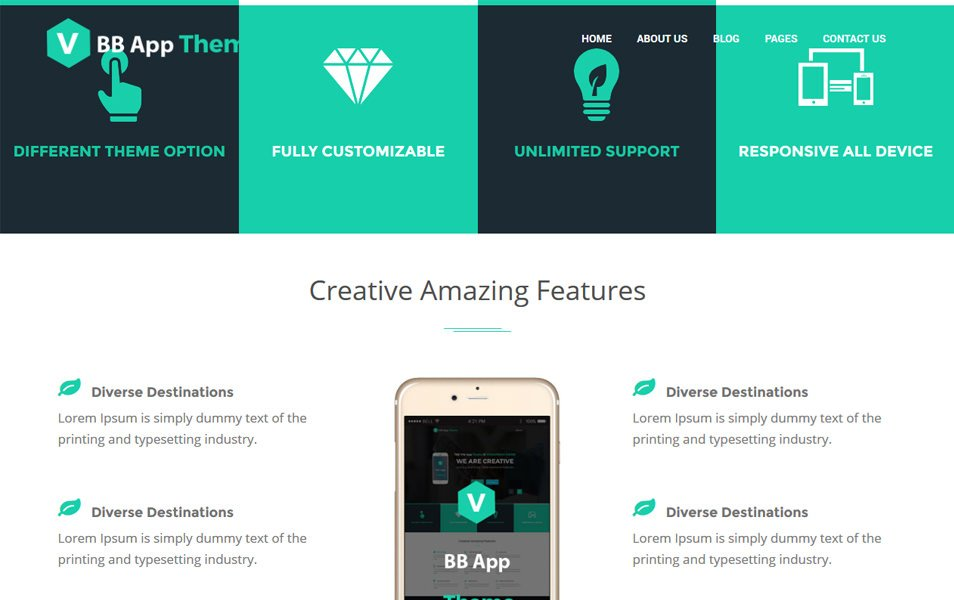 BB Mobile Application Responsive WordPress Theme