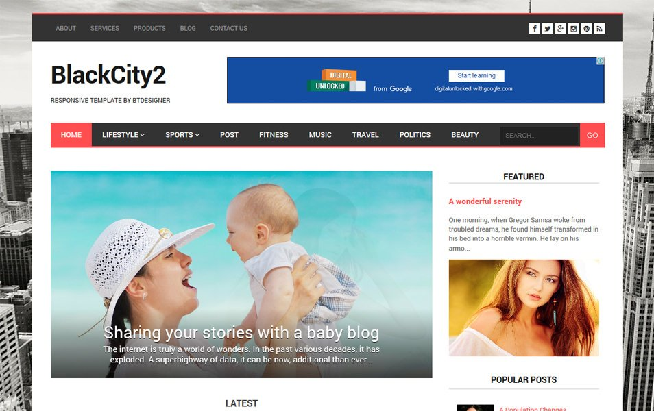 BlackCity 2 Responsive Blogger Template
