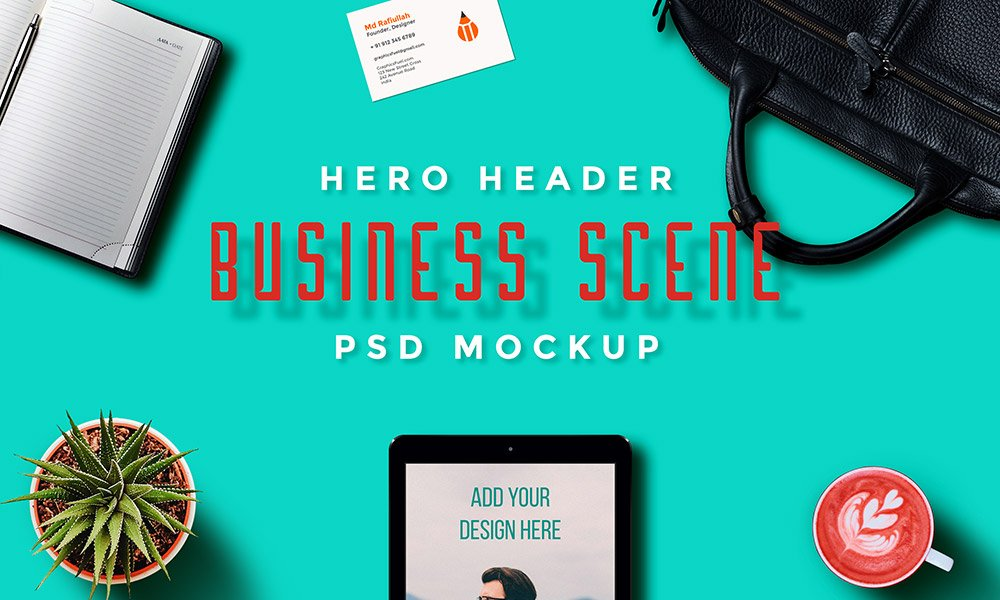 Hero Header Scene Mockup Templates PSD