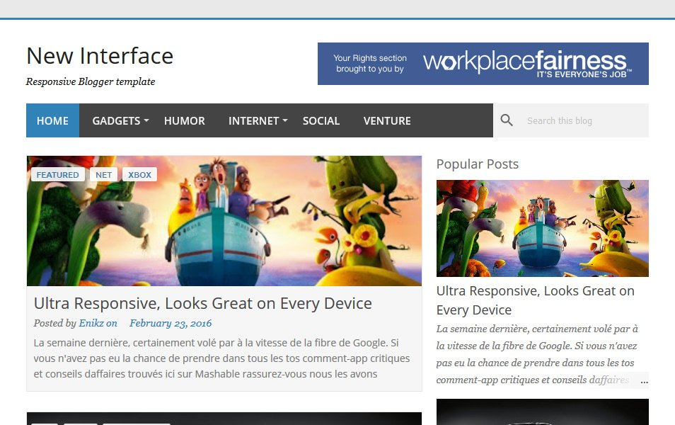 New Interface Responsive Blogger Template