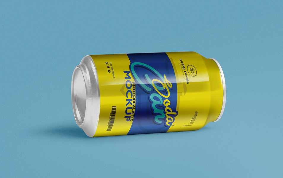 Free Cool Soft Drink Can Mockup PSD