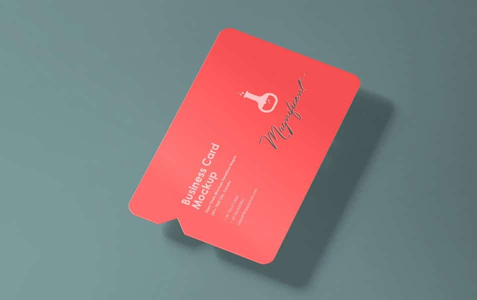 Free Creative Business Card Mockup With Die Cut & Inner Cut Style