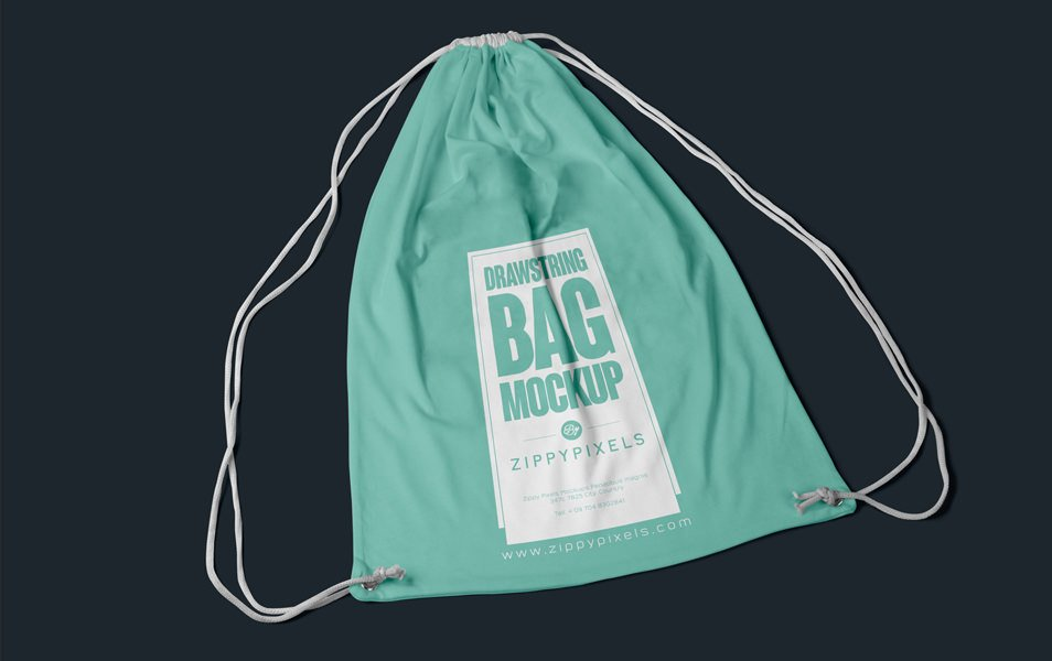 Free Fabric Drawstring Backpack Mockup