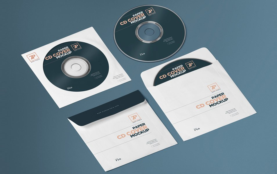 Free Isometric Paper CD Cover Mockup