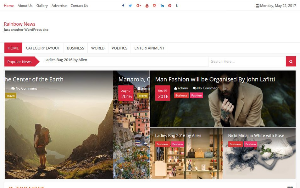 RainbowNews Responsive WordPress Theme