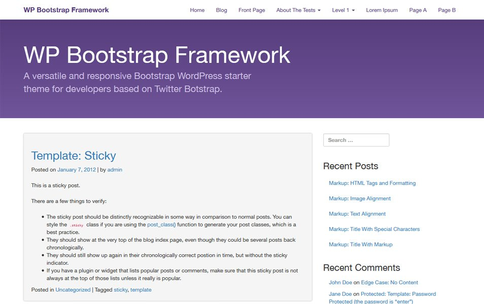 WP Bootstrap Starter Responsive WordPress Theme